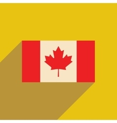 Flat icon with long shadow flag of canada vector