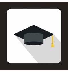 Graduation cap icon flat style vector