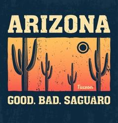 arizona t shirt with saguaro cactus vector image vector image