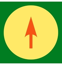Arrow axis y flat orange and yellow colors round vector