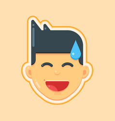 avatar icon of smiley face man vector image
