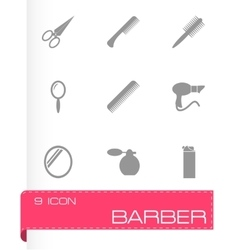 black barber icon set vector image vector image