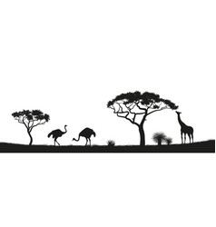 black silhouette of ostrich giraffe in savannah vector image vector image
