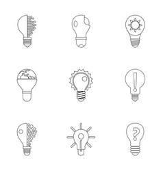 bulb icons set outline style vector image vector image