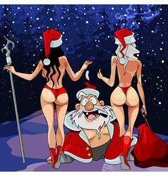 cartoon joyful Santa Claus with two women vector image
