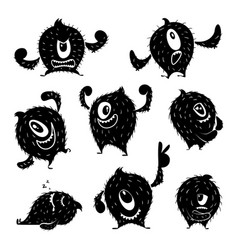 character of funny monster in different action vector image vector image