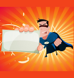 Comic super hero holding sign vector