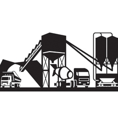Concrete plant with trucks vector image vector image