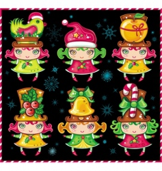 cute Christmas girls vector image vector image