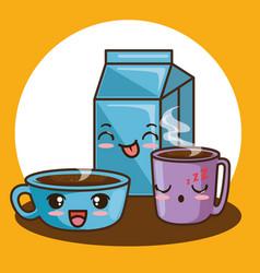 cute kawaii breakfast food cartoon vector image