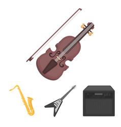electric guitar loudspeaker saxophone violin vector image vector image