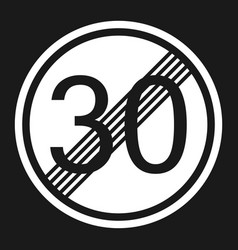End maximum speed limit 30 sign flat icon vector
