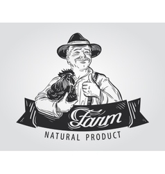 farmer with a chicken in his hand hand-drawn vector image vector image