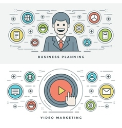 Flat line business planning and video marketing vector