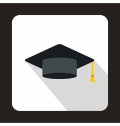 Graduation cap icon flat style vector image vector image