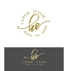 h e handdrawn brush monogram calligraphy logo vector image