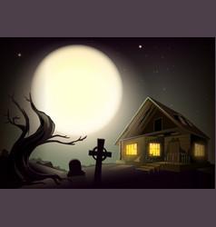Halloween gloomy night landscape big full moon in vector