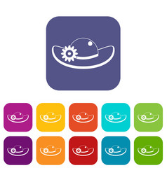 Hat with flower icons set flat vector