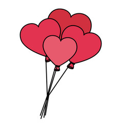 heart shaped party balloons vector image