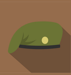 Military cap icon flat style vector