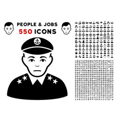 Military captain icon with bonus vector