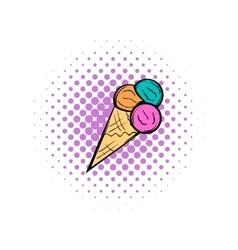 Mixed ice cream scoops in cone comics icon vector