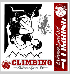 Mountain climbing and logos emblems vector