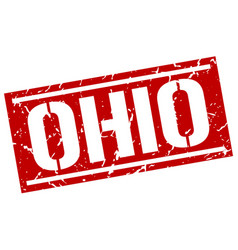 Ohio red square stamp vector
