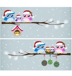 owl christmas celebration design vector image vector image