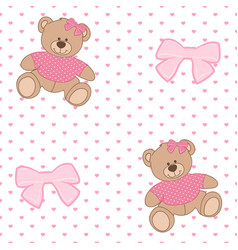Pattern bear ribbon vector