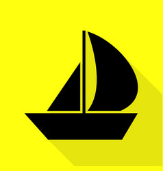 Sail boat sign black icon with flat style shadow vector