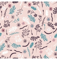 Seamless floral pattern on pink background vector