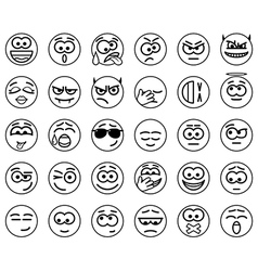 Set Circle Smiles vector image