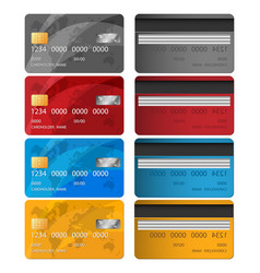 set of credit card two sides credit card vector image vector image