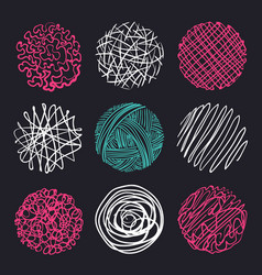 set of hand-drawn circles elements for desicn vector image