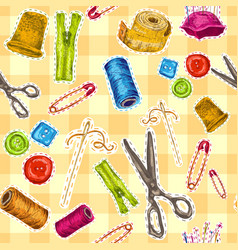 Sewing sketch seamless pattern vector