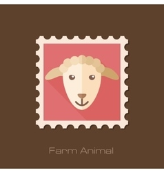 Sheep flat stamp Animal head vector image vector image