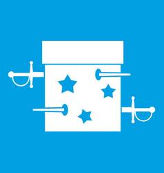 Sword box icon white vector