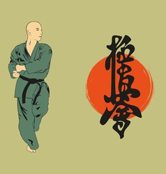 The man shows karate an with a hieroglyph vector