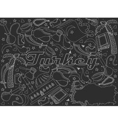 Turkey line art design chalky vector