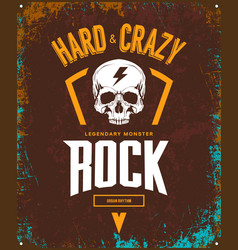 Vintage hard and crazy rock t-shirt logo vector