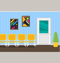 Waiting room for patients in the office flat vector