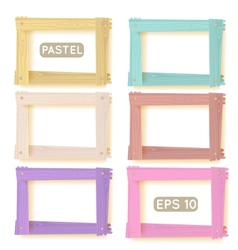 Wooden picture frames pastel set vector image vector image