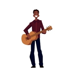 Young african american male guitar player vector