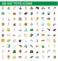 100 kid toys set cartoon style vector image vector image