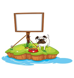 An empty board with a dog in an island vector