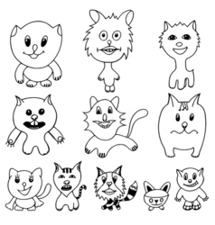 Set of cute cat cartoon vector