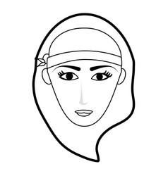 Black silhouette cartoon front face woman with hat vector
