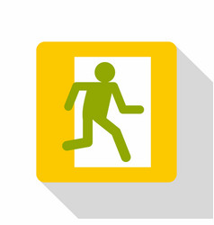 fire exit sign icon flat style vector image
