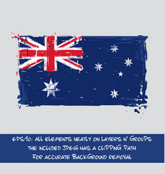 australian flag flat - artistic brush strokes and vector image